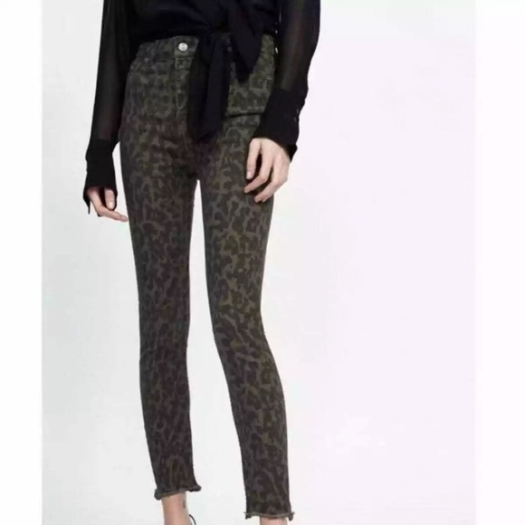Zara Animal Print High Rise Skinny Raw Ankle Jean